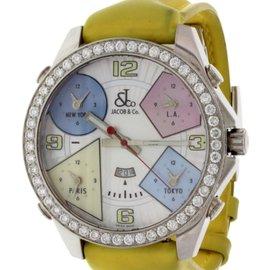 Jacob & Co. Five Time Zones MOP with Diamond Bezel Men's Watch