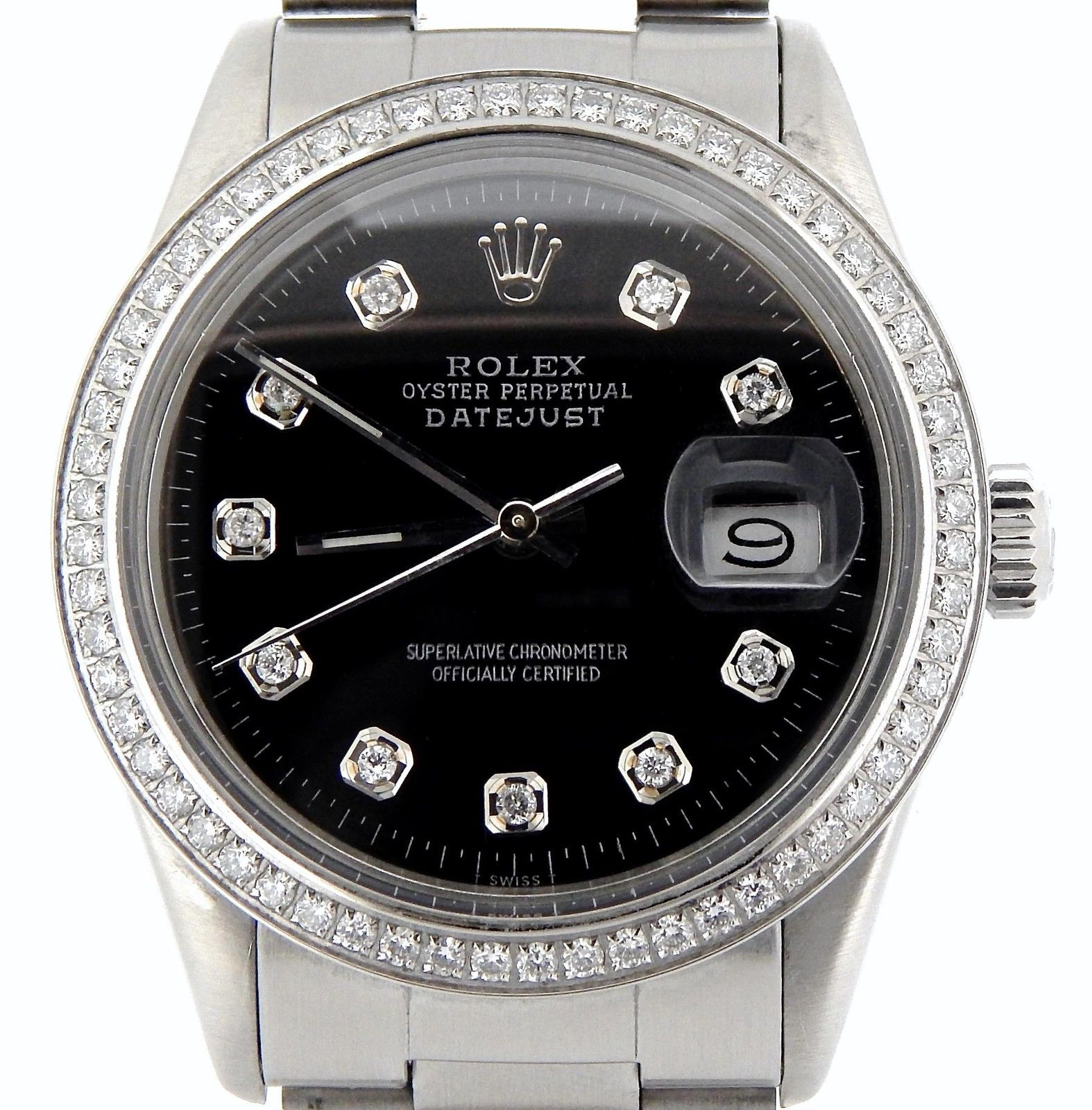"Image of ""Rolex Stainless Steel Datejust Oyster w/Black Diamond Dial Watch"""