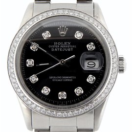 Rolex Stainless Steel Datejust Oyster w/Black Diamond Dial Watch