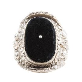 Yves Saint Laurent Silver Tone Metal Black Velvet Baroque Cuff Bracelet