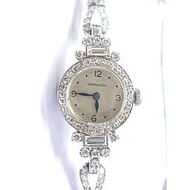 Hamilton Round & Baguette 4.00Ct Diamond Platinum Vintage Watch