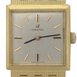 Omega 18K Solid Yellow Gold Mesh Silver 20mm Ladies Watch