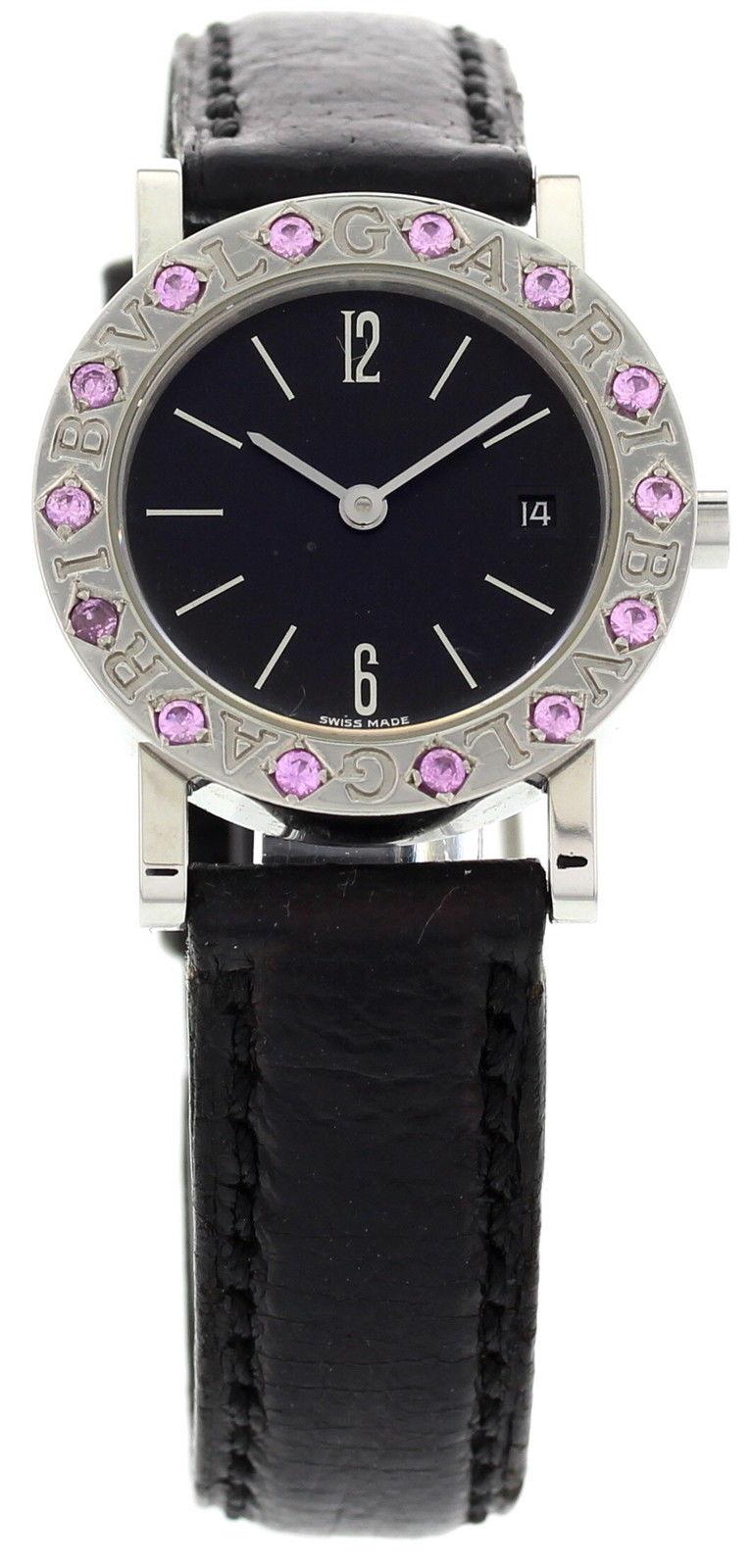 "Image of ""Bulgari BB 26 SLD Stainless Steel Pink Sapphires Watch"""