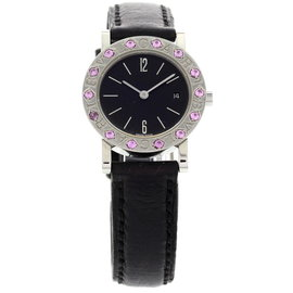 Bulgari BB 26 SLD Stainless Steel Pink Sapphires Watch