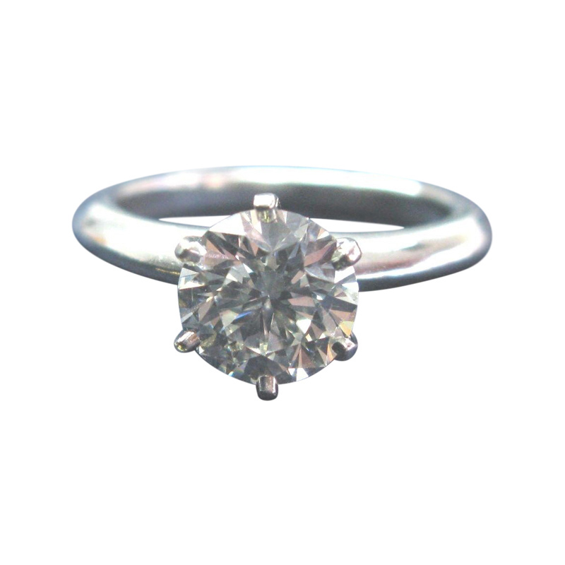 "Image of ""Tiffany & Co. Platinum Round Diamond Solitaire Ring"""