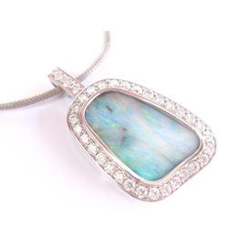 14K White Gold Opal 13.30ct. Diamond Pendant Necklace