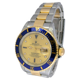 Rolex Submariner 16613 18K Yellow Gold/Steel Serti Diamond Dial Mens Watch