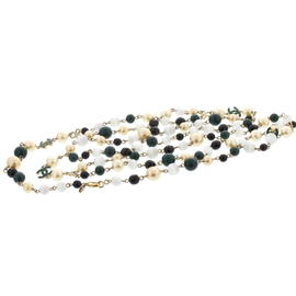 Chanel Faux Pearl & Black Jet Beads Necklace