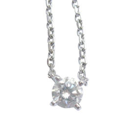 Cartier 18K Round Cut Diamond Solitaire Pendant Necklace