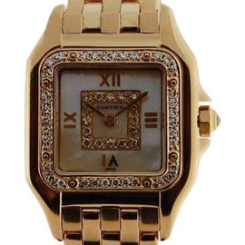 Cartier Panthere 18K Gold Diamond Quartz Mother of Pearl Dial Womens Watch