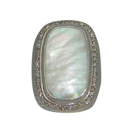 David Yurman 925 Sterling Silver Diamond Albion Mother Of Pearl Ring