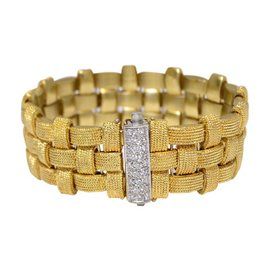 Roberto Coin 18k Yellow Gold & Diamond Woven Bracelet