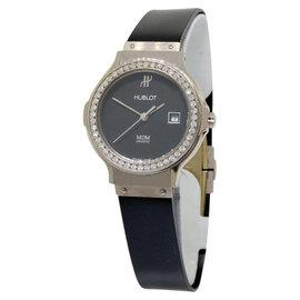 Hublot MDM Diamond Bezel & 18K White Gold Womens Watch