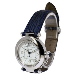 Cartier Pasha 2308 18K White Gold and Leather Automatic 35mm Watch