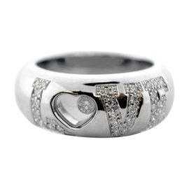 Chopard 18k White Gold and Diamonds Happy Heart Ring Size 6