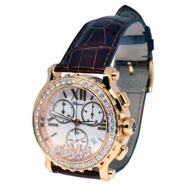 Chopard 283583-5001 Happy Sport Chronograph 18K Rose Gold & Diamonds Womens Watch