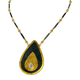 Gurhan 24K Yellow Gold Silver and Diamond Necklace