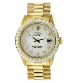 Rolex Datejust 6827 18K Yellow Gold Diamond Mother Of Pearl Dial Automatic Midsize Watch
