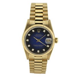 Rolex Datejust Lady's 18K Yellow Gold 6917 Blue Custom Diamond Dial Fluted Bezel