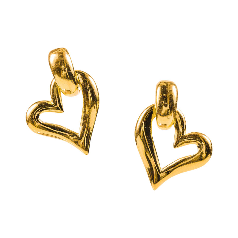 "Image of ""Yves Saint Laurent Gold Tone Open Heart Clip On Drop Earrings"""