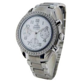 Omega Speedmaster 3515 Chronograph Mother Of Pearl Dial Diamond Bezel Ladies Watch