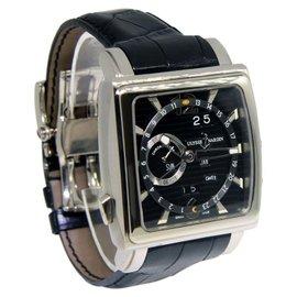 Ulysse Nardin Quadrato 320-90 Dual Time 18K White Gold Watch