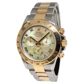 Rolex Daytona Chronograph 116523 18K Yellow Gold Steel MOP Dial Mens Watch