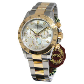 Rolex Daytona 116523 18K Yellow Gold/Steel Mother Of Pearl Diamond Dial Mens Watch
