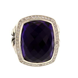 David Yurman Albion Silver, Black Orchid, & Diamond Ring