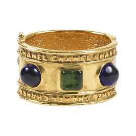 Chanel Gold Tone Hammered Blue Green Stone Embellished Cuff Bracelet