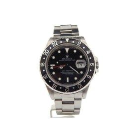 Rolex GMT-Master II 16710 Stainless Steel Black w/Oyster Fliplock Band Mens Watch