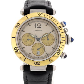 Cartier Pasha De 1032 Chronograph Stainless Steel & 18K Yellow Gold Mens Watch