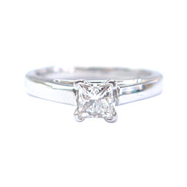 14K White Gold .49ct. Diamond Solitaire Engagement Ring Size 5
