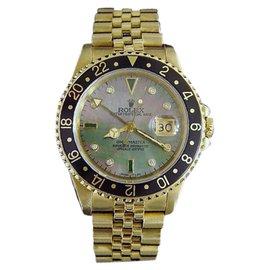 Rolex GMT-Master 16758 18K Yellow Gold Black Tahitian MOP Diamond Watch