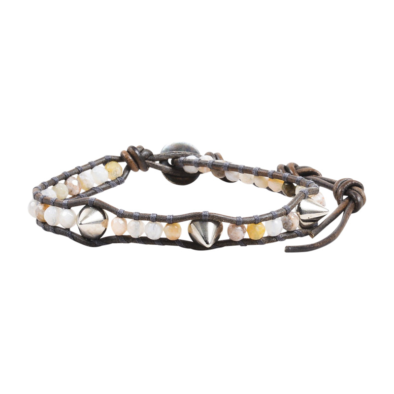 "Image of ""Chan Luu Silver Tone Hardware & Brown Leather with Gemstones Stud Wrap"""