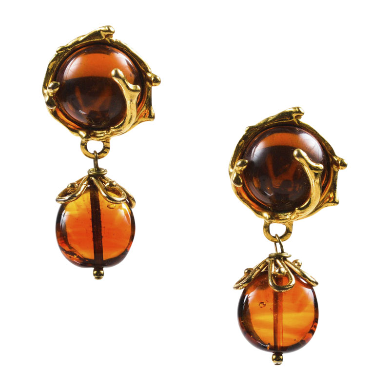 "Image of ""Yves Saint Laurent Gold Tone & Burnt Orange Resin Embellished Drop"""