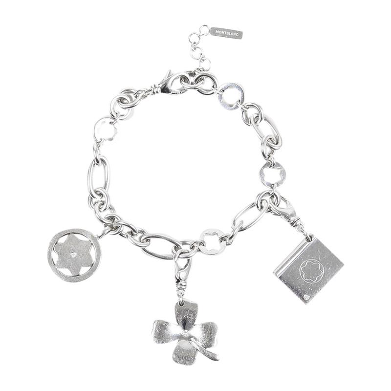 "Image of ""Mont Blanc 925 Sterling Silver Diamond Clover Charm Bracelet"""