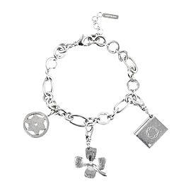 Mont Blanc 925 Sterling Silver Diamond Clover Charm Bracelet