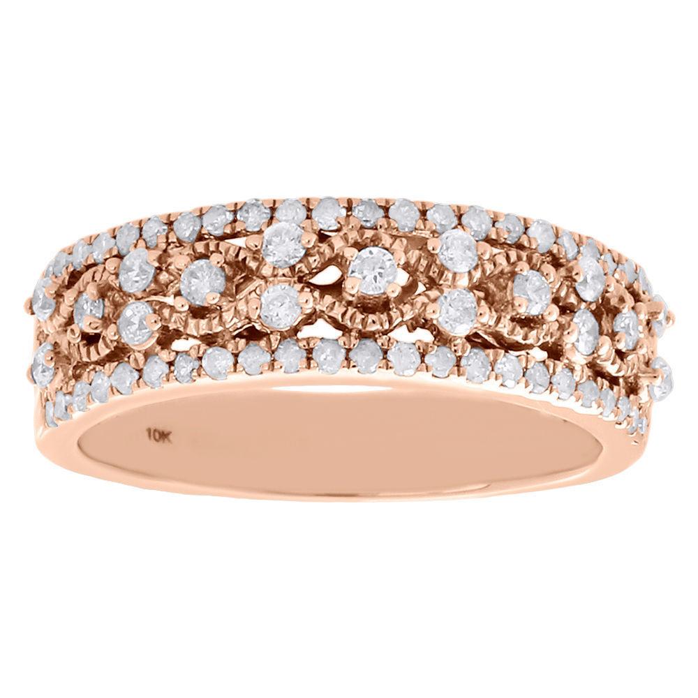 "Image of ""10K Rose Gold 0.50ct Diamond Filigree Waved Ring Band Size 7"""