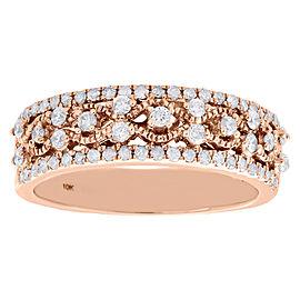 10K Rose Gold 0.50ct Diamond Filigree Waved Ring Band Size 7