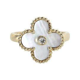 Van Cleef & Arpels 18K Yellow Gold MOP Diamond Alhambra Ring Size U.S. 6.25 ; EU 53