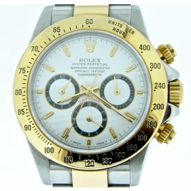 Rolex Daytona 16523 18K Yellow Gold & Stainless Steel White Zenith El Primero Mens Watch
