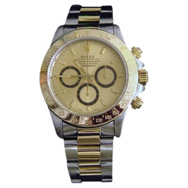 Rolex Daytona 16523 18K Yellow Gold & Stainless Steel Cosmograph Zenith El Primero Mens Watch