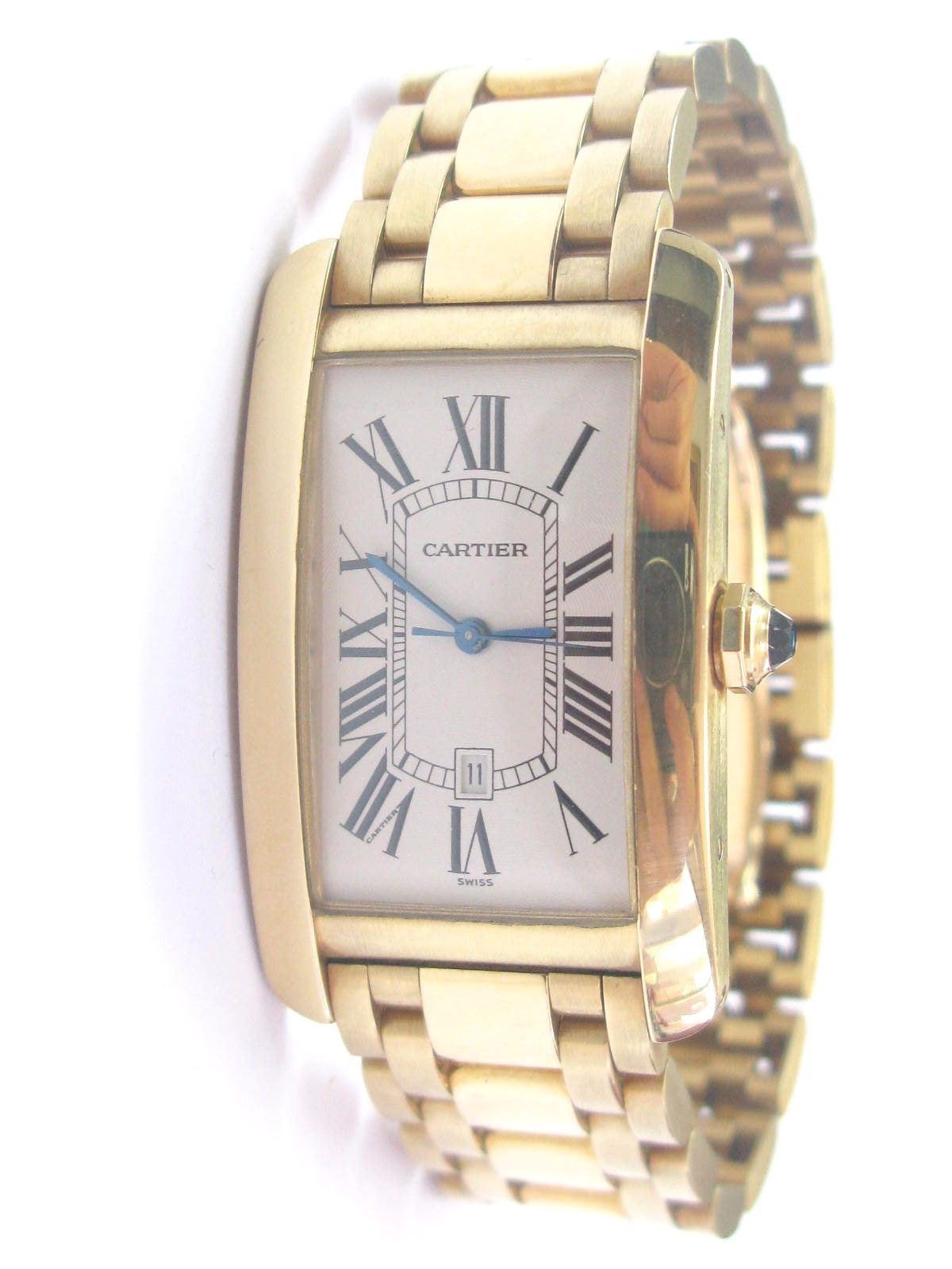 "Image of ""Cartier Large Tank Americaine 18k Yellow Gold Automatic Mens Watch"""