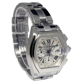 Cartier Roadster 2618 Chronograph Stainless Steel Silver Dial Mens Watch