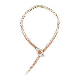 Chanel Gold Tone Metal Orange Cabachon Rhinestone Crystal 'CC' Snake Choker Necklace