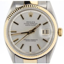 Rolex Datejust 1601 Two Tone 14K Yellow Gold & Stainless Steel Oyster Fluted Silver Mens Watch