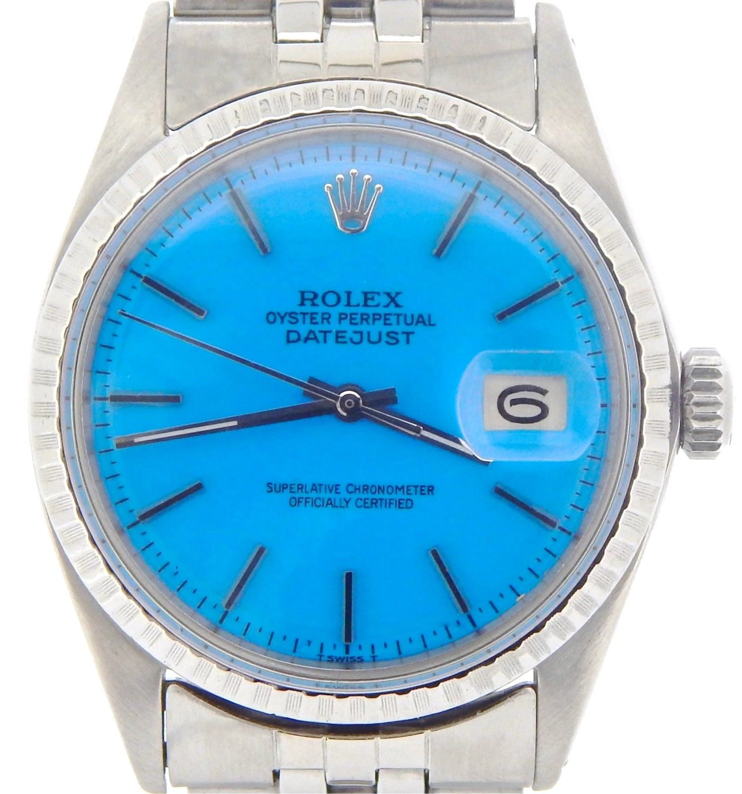 """Image of """"Rolex Datejust 1603 Stainless Steel Watch With Jubilee Band & Blue"""""""