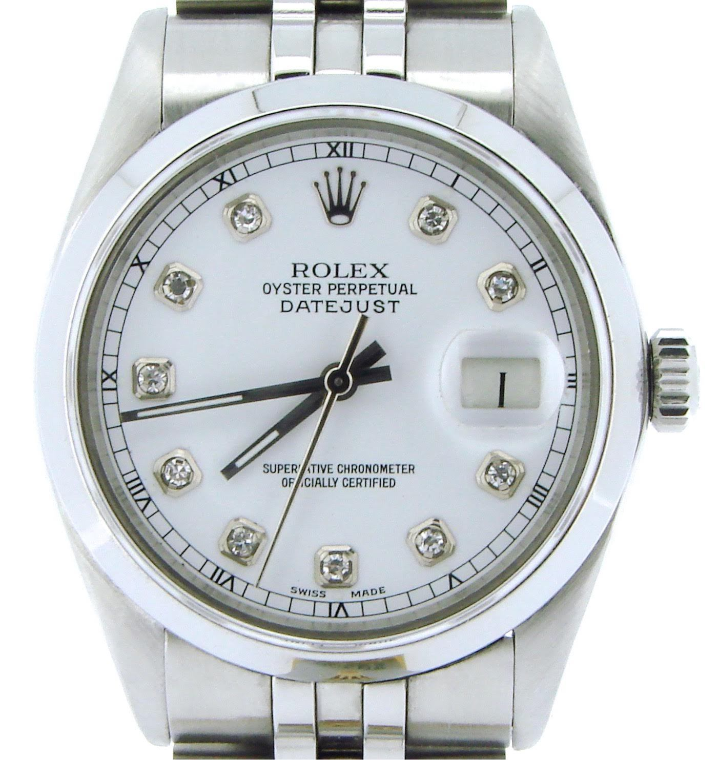 """Image of """"Rolex Stainless Steel Datejust w/Diamond Dial & Hidden Clasp Jubilee"""""""