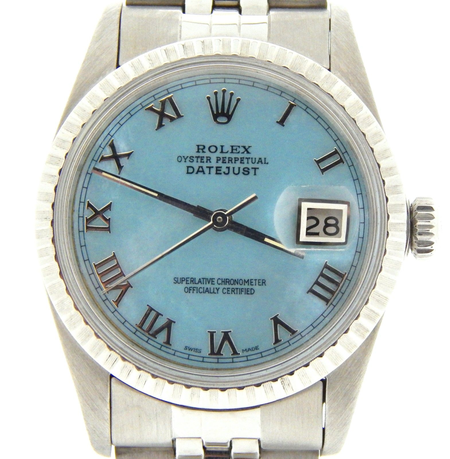 """Image of """"Rolex Datejust Stainless Steel With Blue MOP Roman Dial & Jubilee Band"""""""